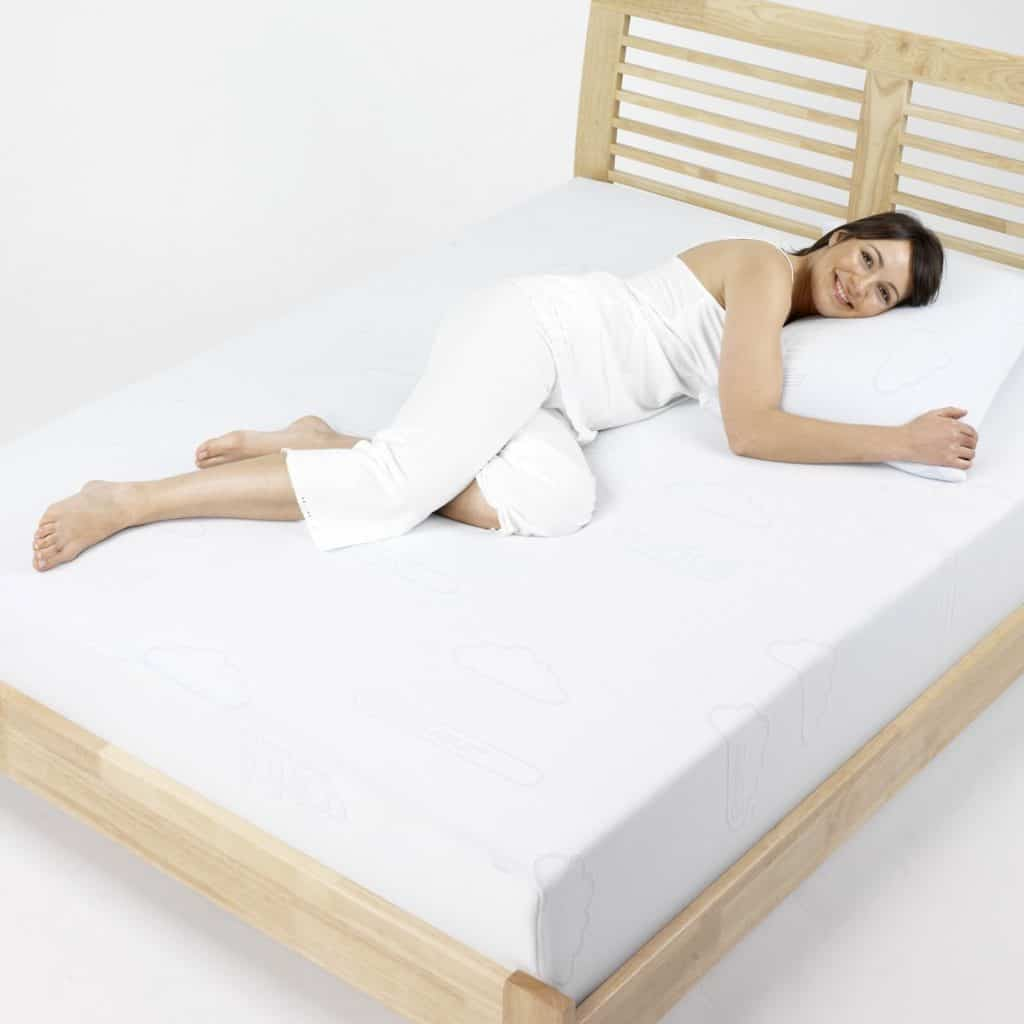woman lying on memory foam mattress